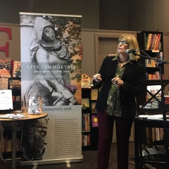 The author speaking at Chevalier's Books, LA's oldest book store