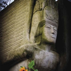 Detail of Oscar Wilde tomb by sculptor Sir Jacob Epstein