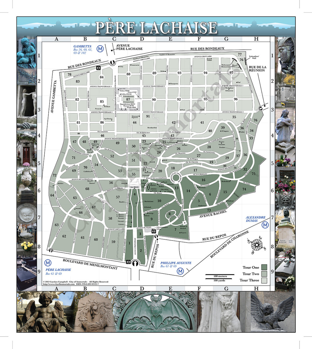 Inside of unfolded Père Lachaise Cemetery Map