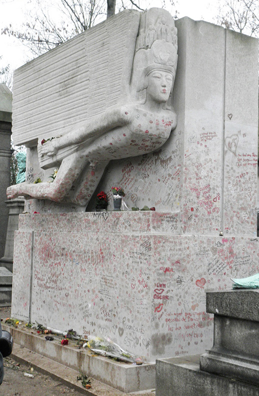 Oscar Wilde's tomb, with defacements