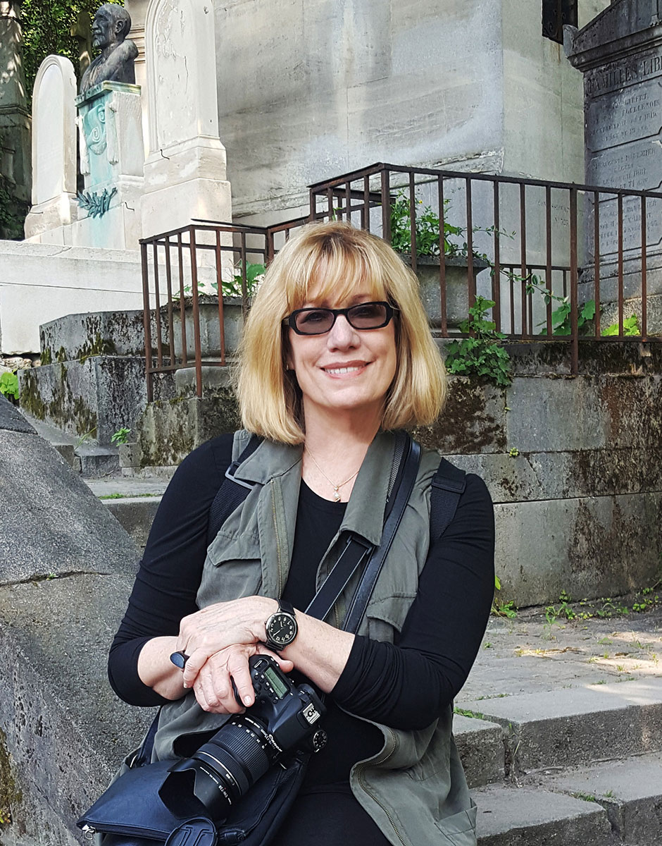Author Carolyn Campbell at Père-Lachaise Cemetery
