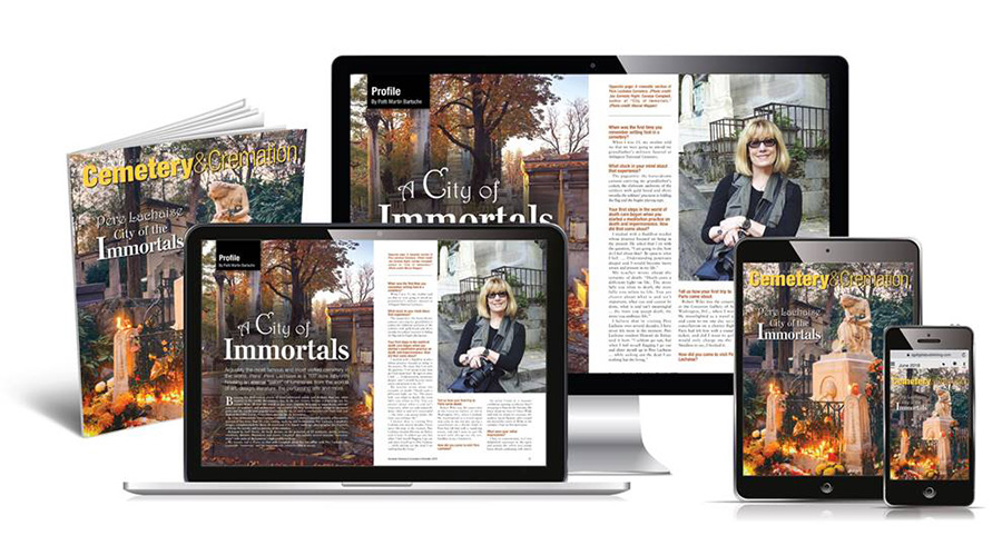 """City of Immortals"" story in December 2019 American Cemetery & Cremation magazine displayed on various devices"