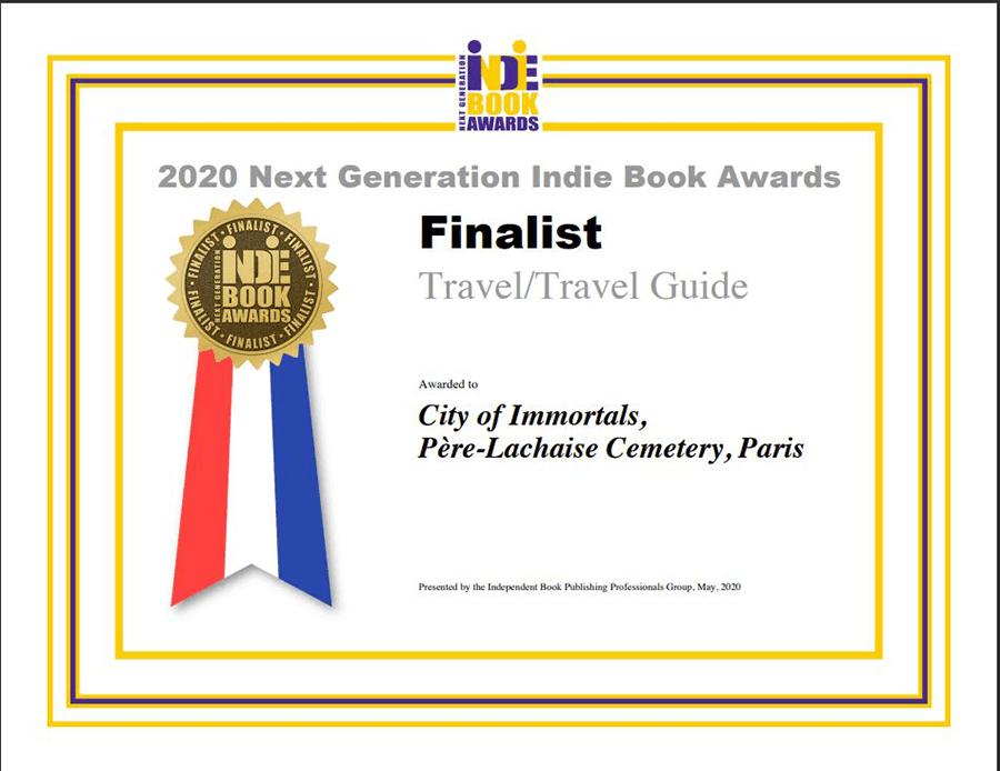 Indie Book Award Finalist certificate