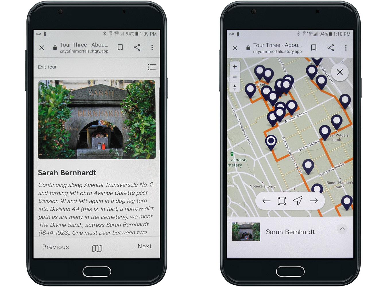 Sarah Bernhardt Tomb and Tour Map