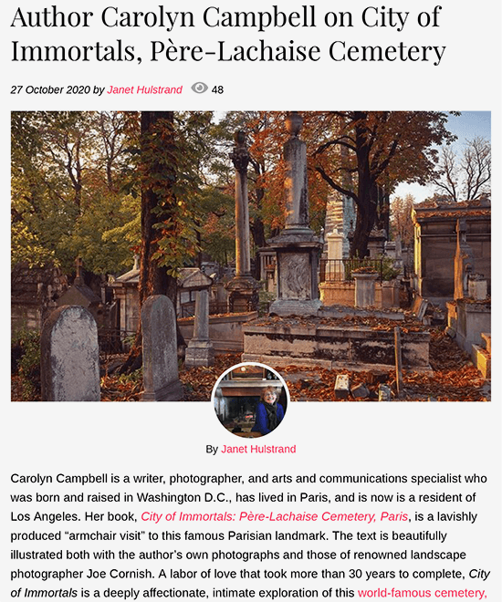 Author Carolyn Campbell on City of Immortals, Père-Lachaise Cemetery